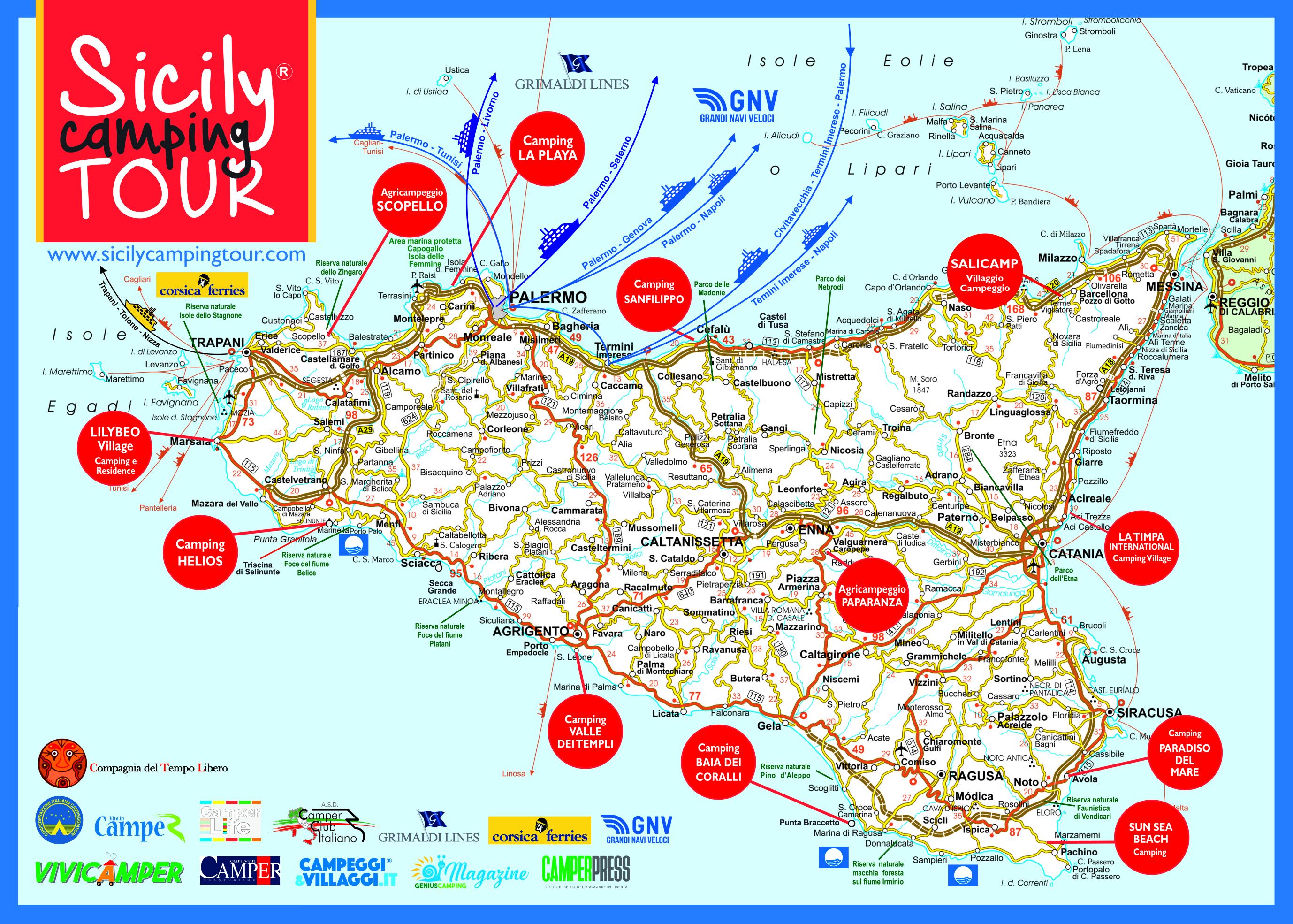 Cartina Sicilia Turistica.Sicilia